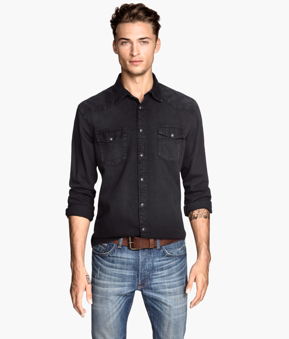 H&m Denim Shirt in Black for Men | Lyst