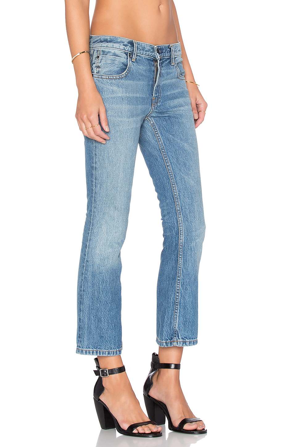 Alexander wang Trap Cropped Bootcut Jeans in Blue | Lyst