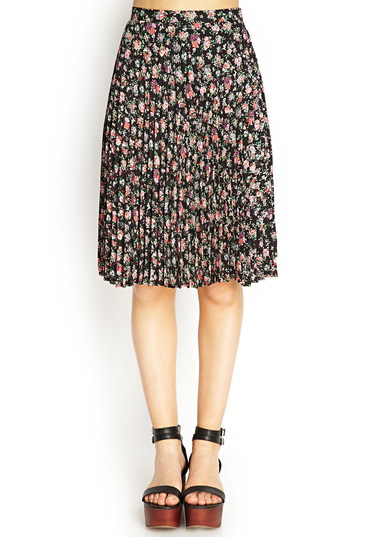 forever 21 pleated floral midi skirt in pink black coral