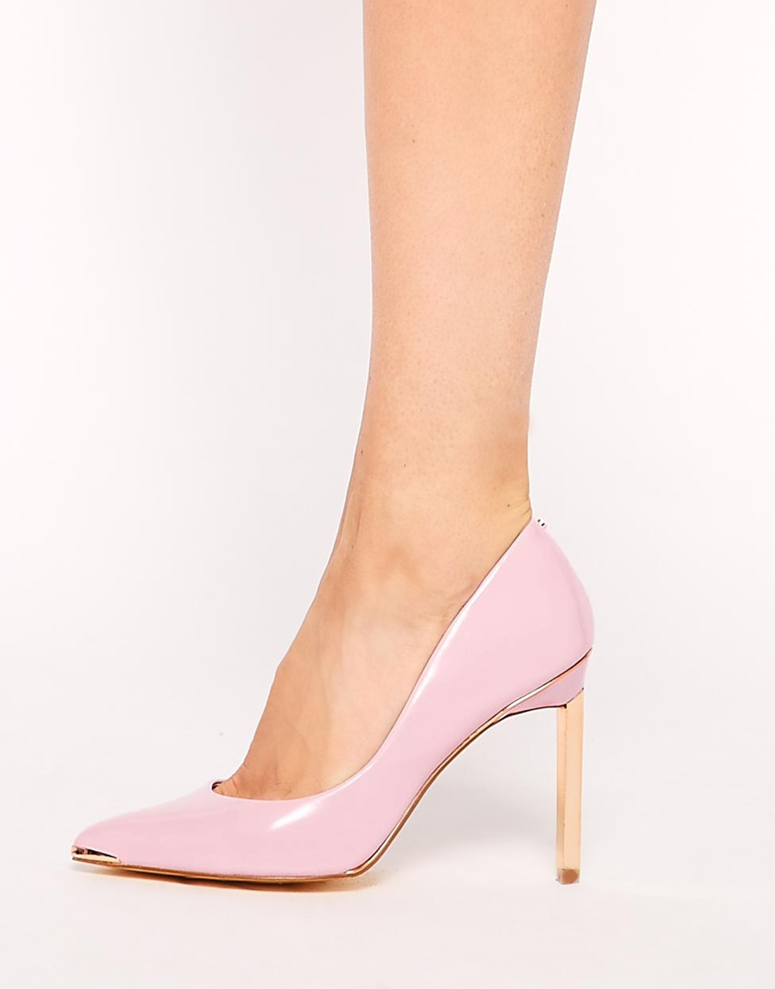 64c1402007a Lyst - Ted Baker Elvena Light Pink Leather Heeled Shoes in Pink