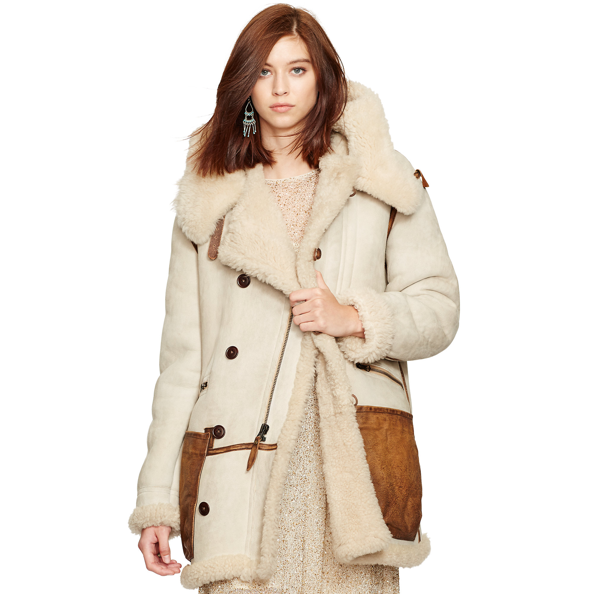 Polo ralph lauren Shearling Leather-trim Coat in Natural | Lyst