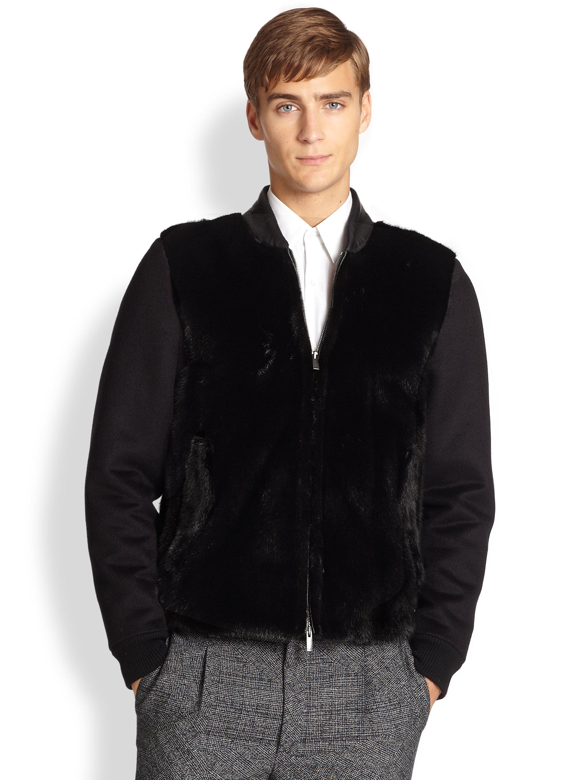 Fendi Cashmere Mink Fur Bomber Jacket In Black For Men Lyst