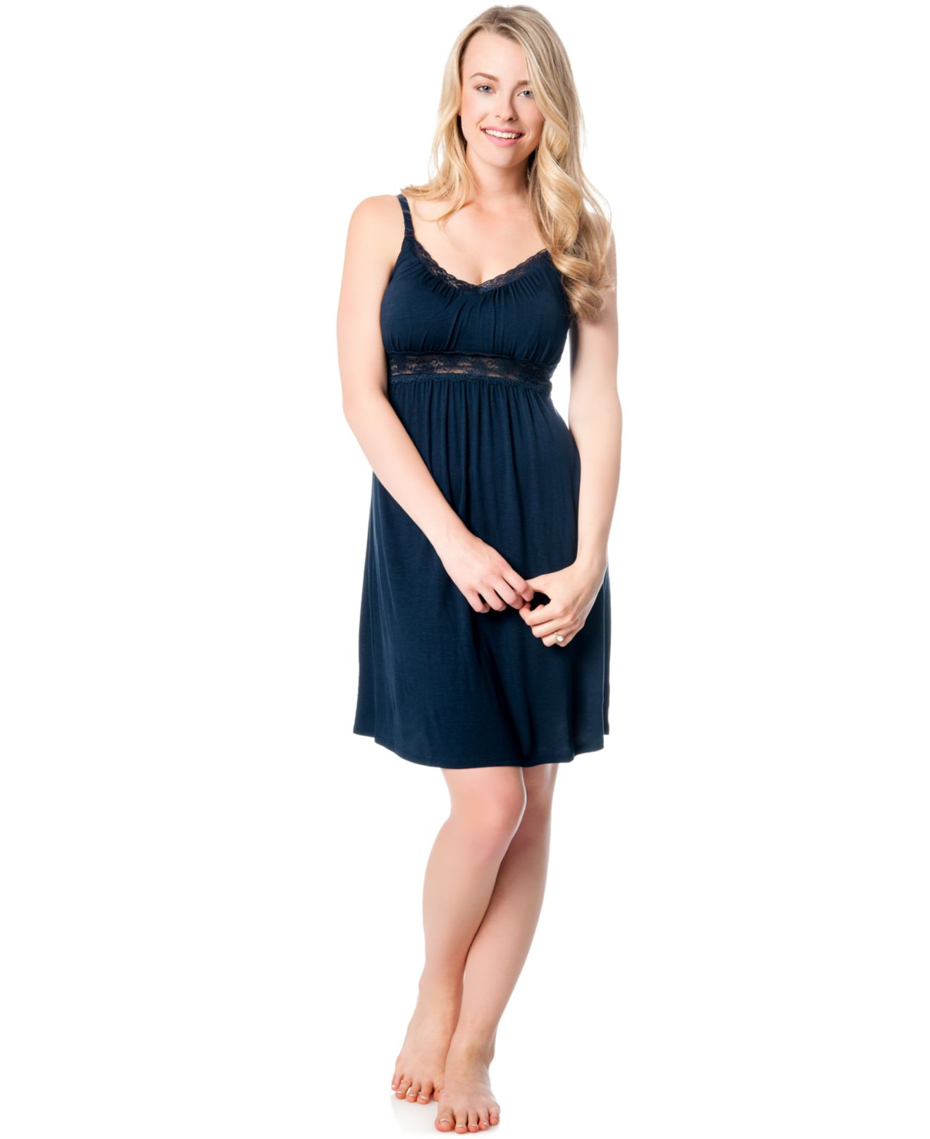 Jessica simpson maternity lace trim nursing nightgown in blue lyst gallery ombrellifo Gallery