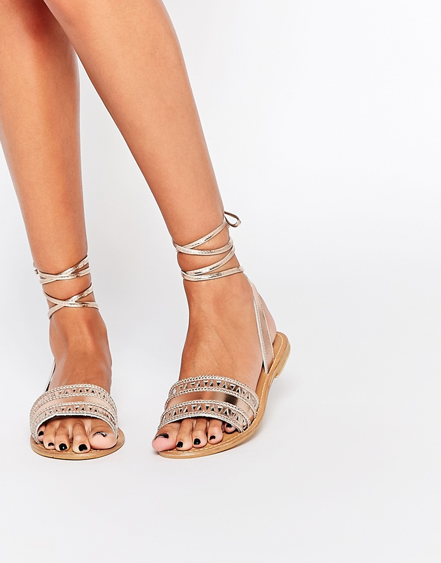 Gold Beaded Sandals River Island