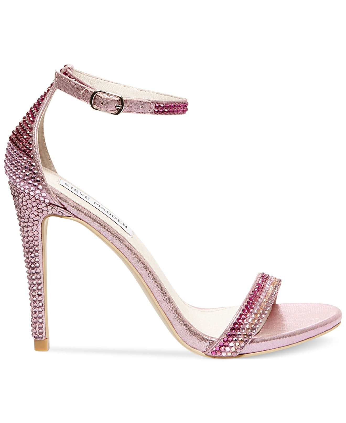 4ce5219d447 Lyst - Steve Madden Women s Stecy Rhinestone Two-piece Sandals in Pink