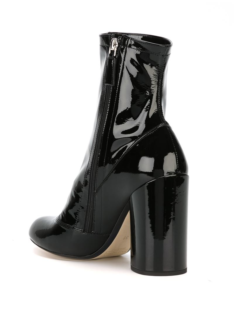 Marc jacobs Patent-Leather Ankle Boots in Black | Lyst