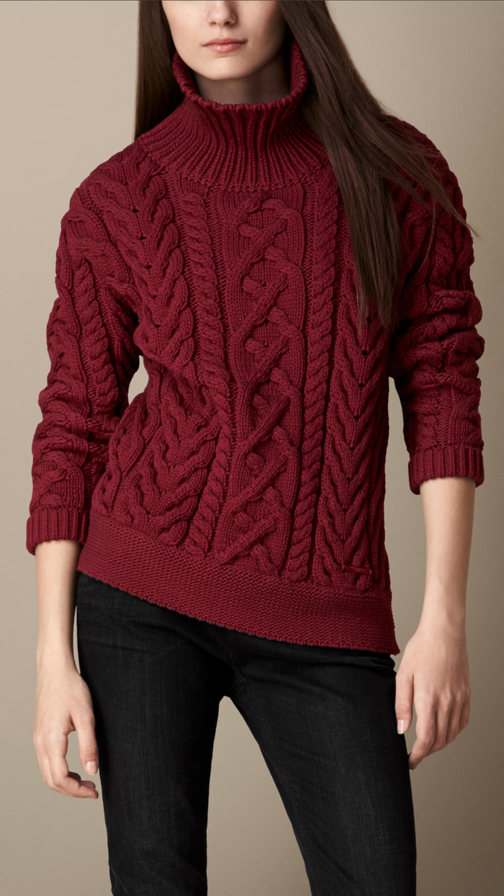 Burberry Cable Knit Turtleneck Sweater in Red | Lyst