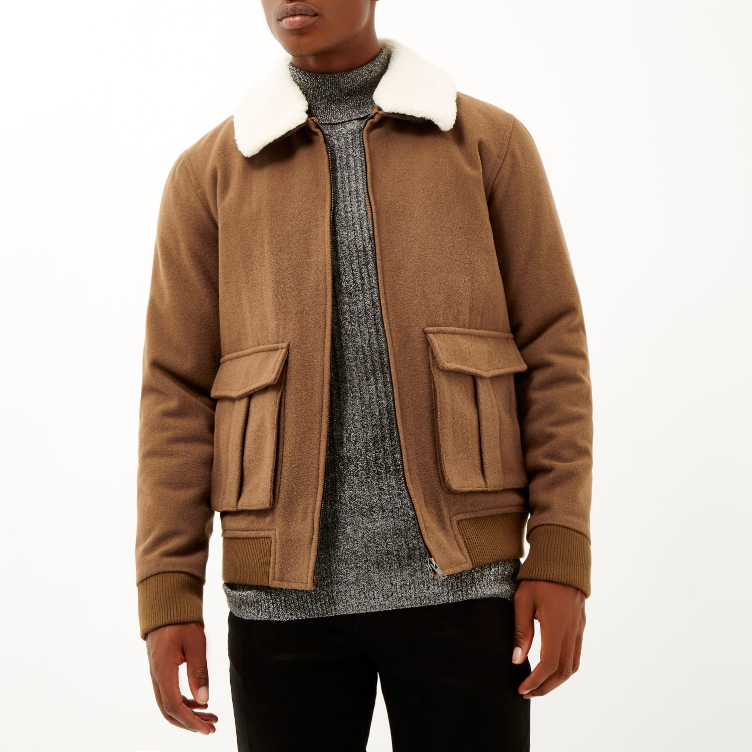 River island Brown Wool-blend Harrington Jacket in Brown for Men