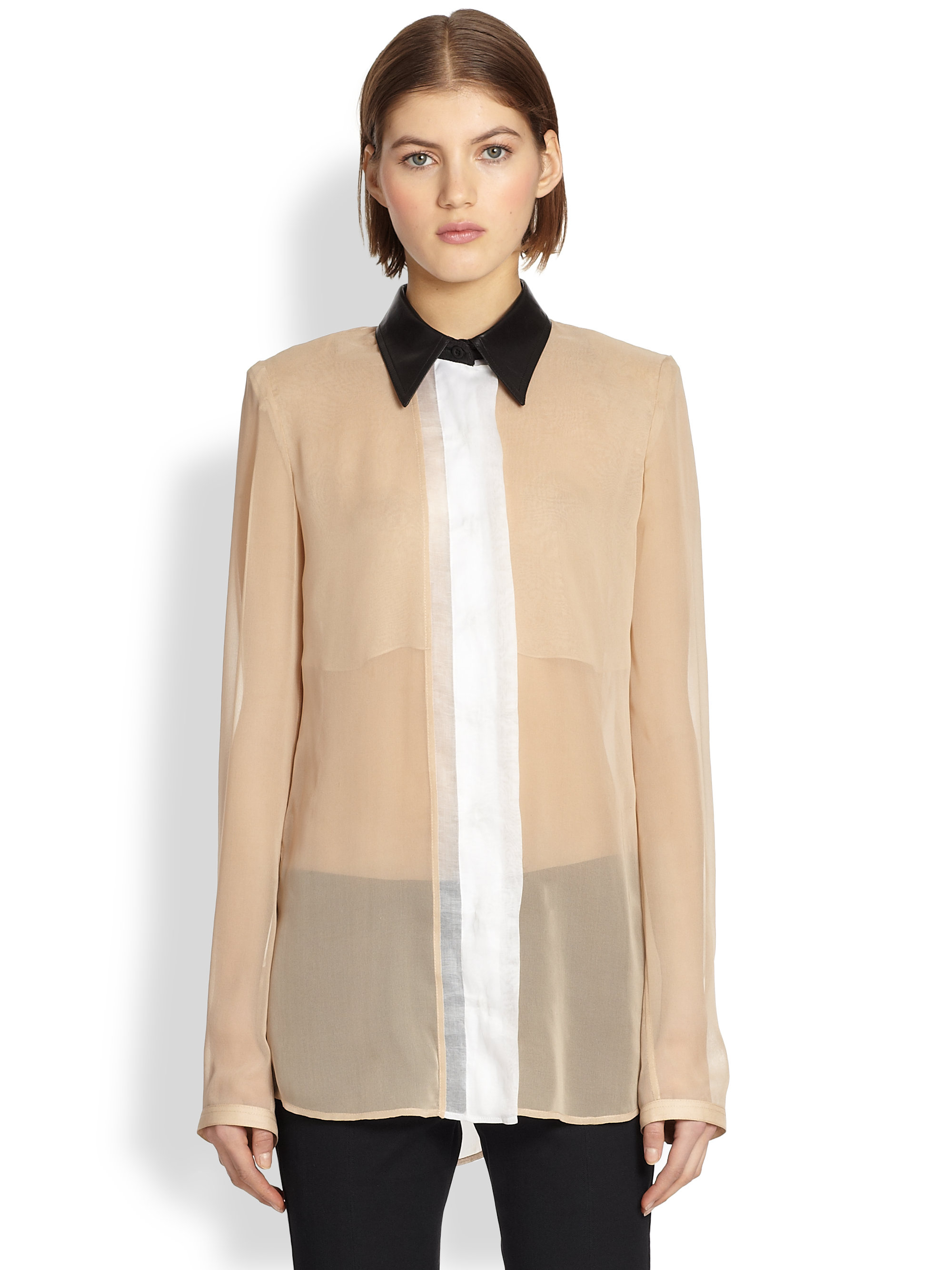 03c13aea0916e Lyst - Reed Krakoff Leather-Collar Silk Chiffon Blouse in Natural