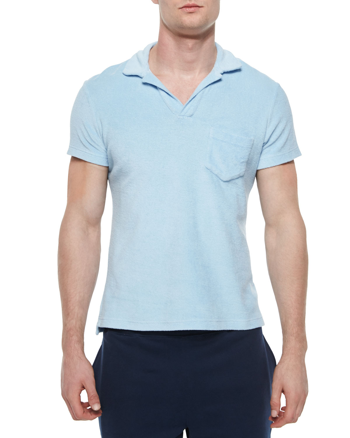Orlebar brown terry polo shirt in blue for men lyst for Mens terry cloth polo shirt