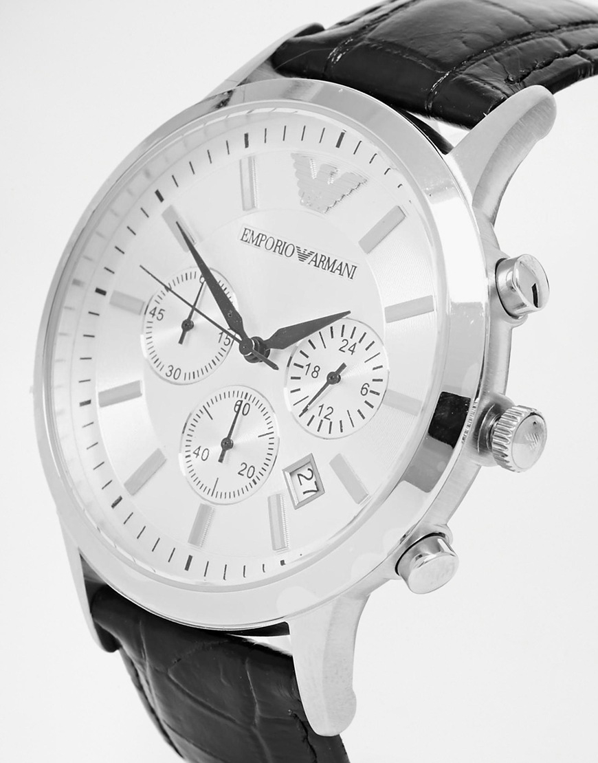 Emporio armani Leather Strap Chronograph Watch Ar2432 in ...