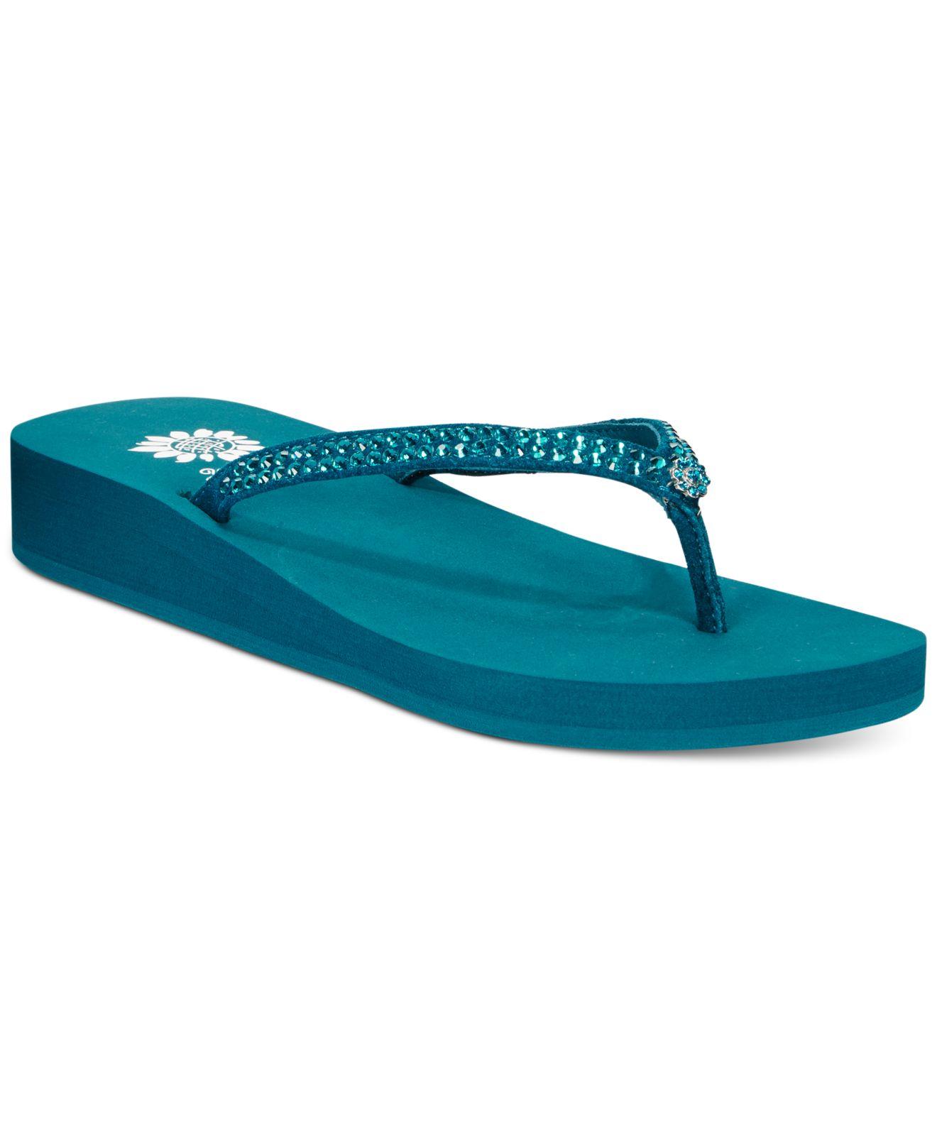 95de8444670667 Lyst - Yellow Box Jello Rhinestone Flip Flops in Blue