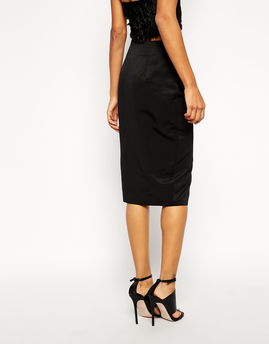 asos woven pencil skirt with front split in black lyst