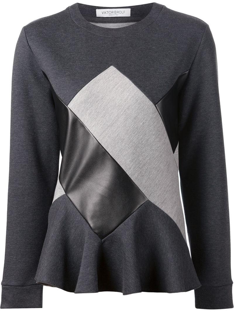 viktor rolf patchwork sweatshirt in black grey save 65 lyst. Black Bedroom Furniture Sets. Home Design Ideas