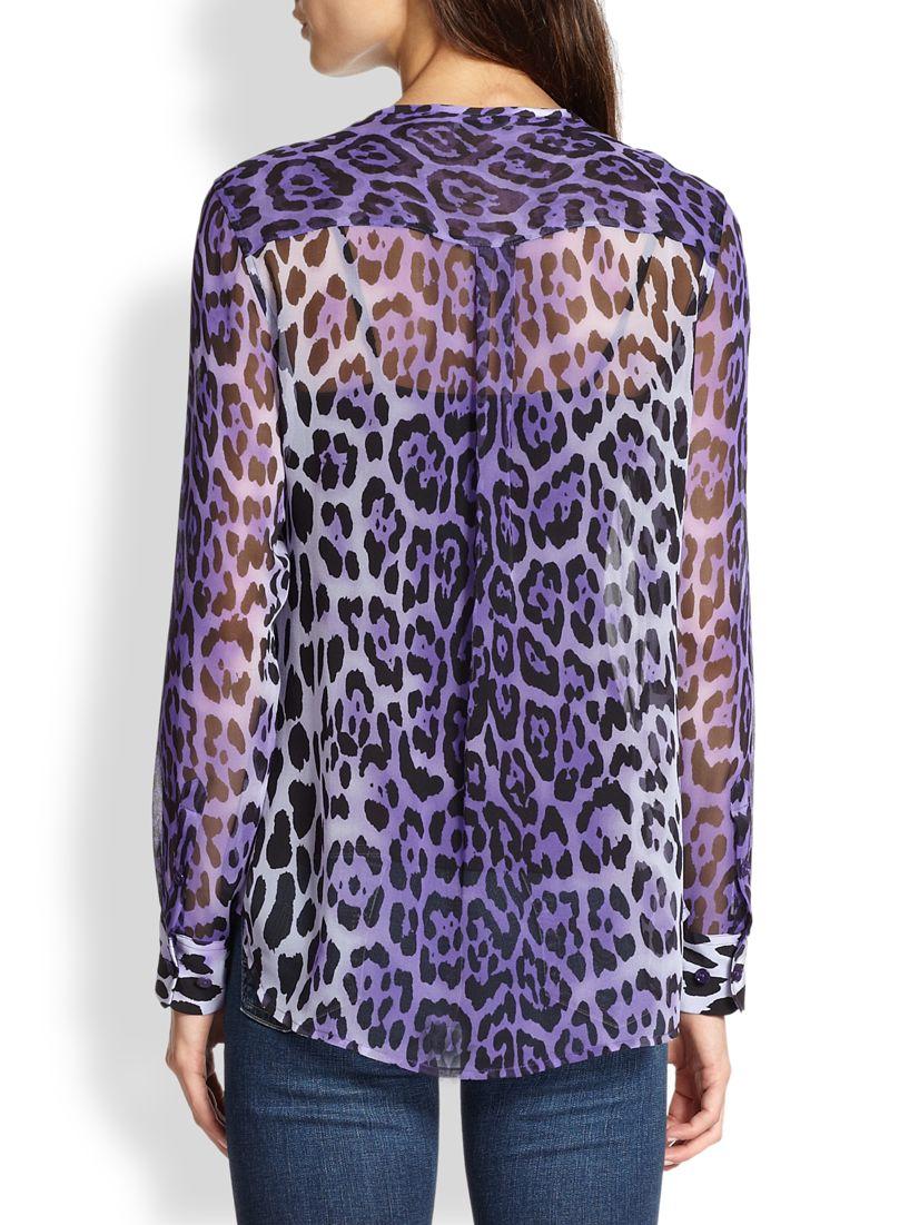9fff38f1aea7fa Lyst - Equipment Lynn Silk Chiffon Leopard-Print Blouse in Purple