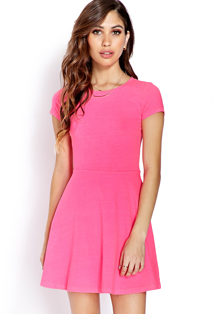 cc8ed07112 Lyst - Forever 21 Go-To Skater Dress in Pink
