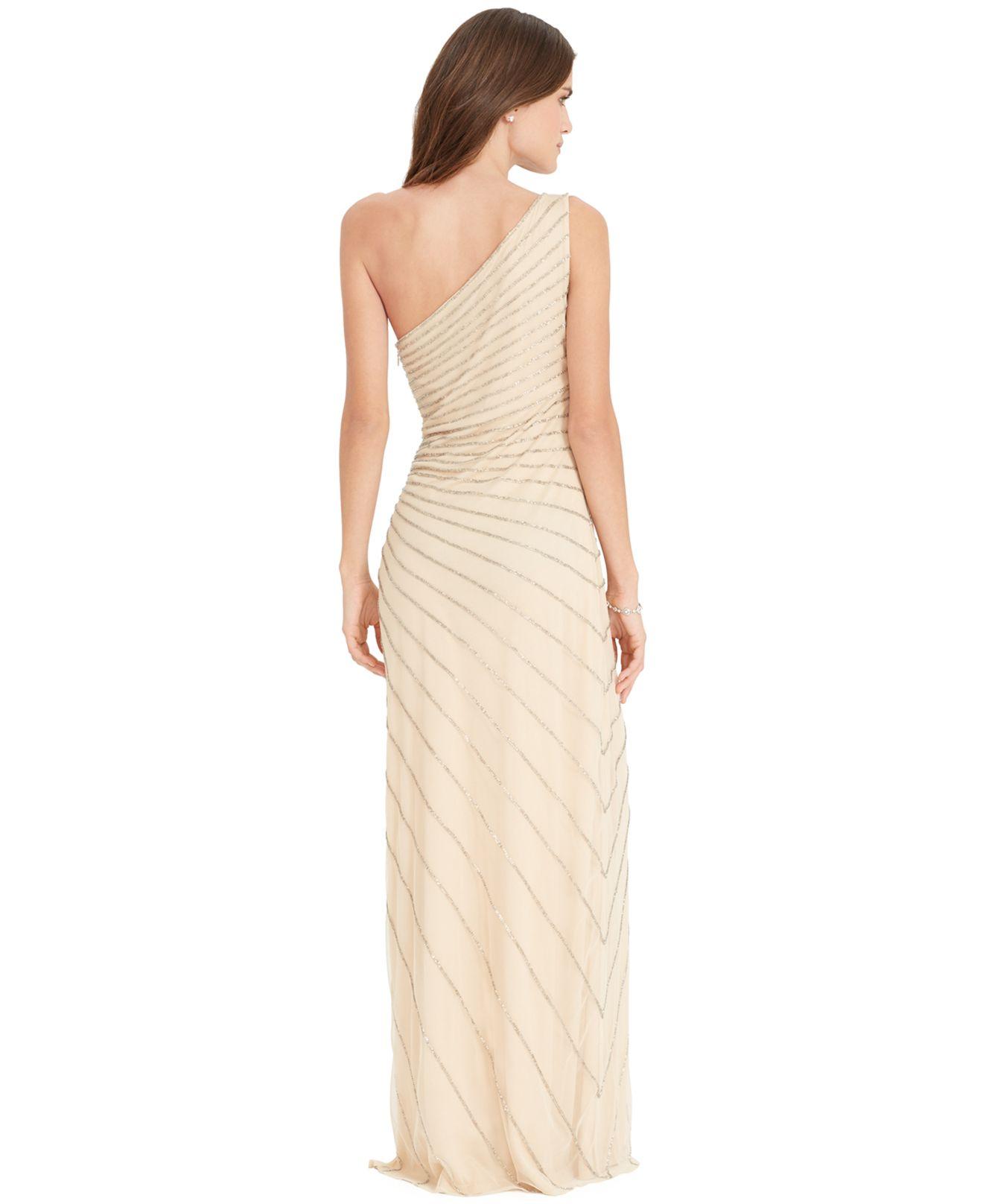 Lyst - Lauren By Ralph Lauren One-Shoulder Beaded Gown in Natural