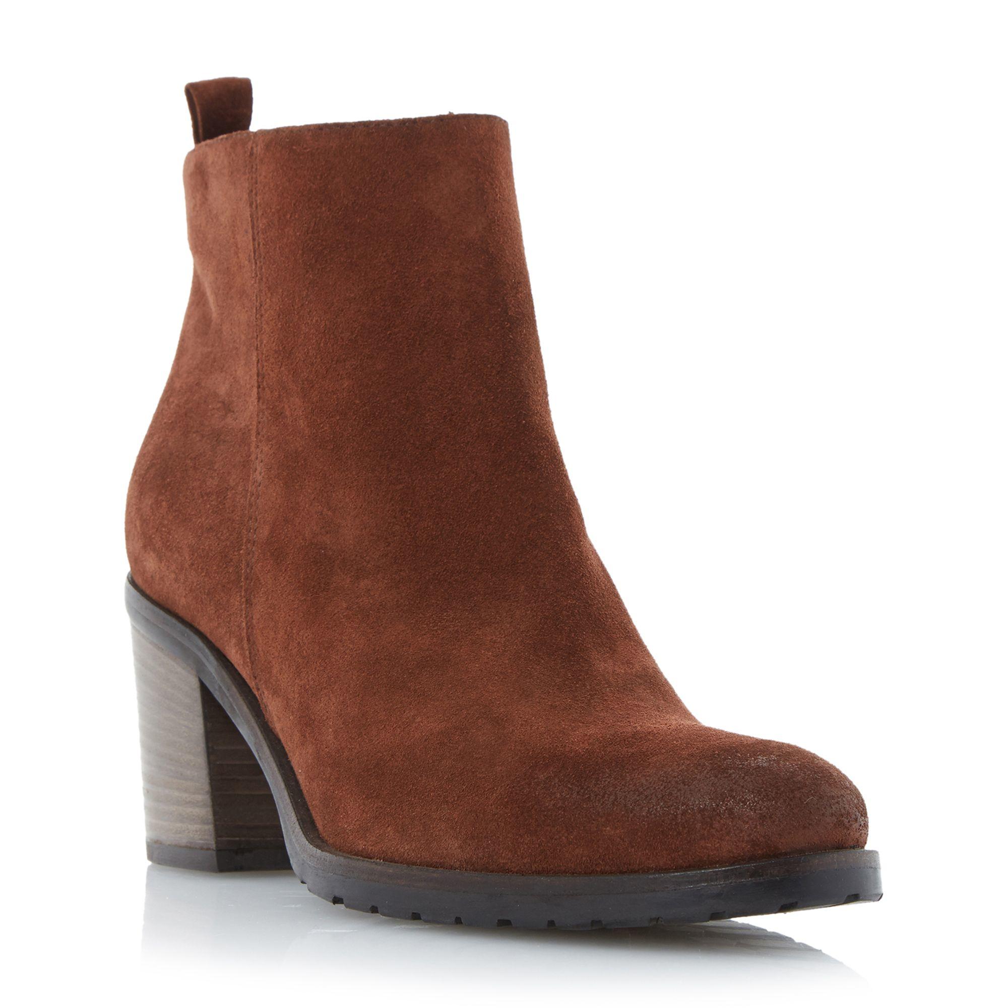 dune black phelix suede block heel ankle boots in brown lyst