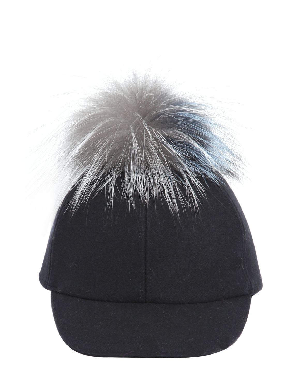 e186fa53f18 ... Lyst - Fendi Wool Felt Baseball Hat With Fur Pompom in Blue meet 42bee  07abf ...