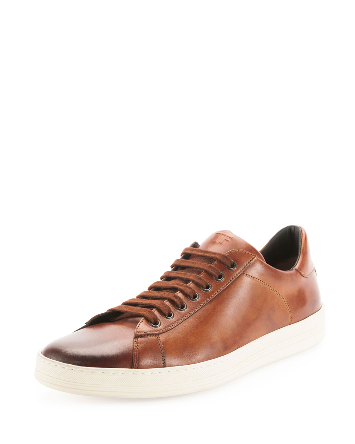 Sneaker smooth leather Hole pattern Logo brown Tom Ford Big Discount tf2k1K