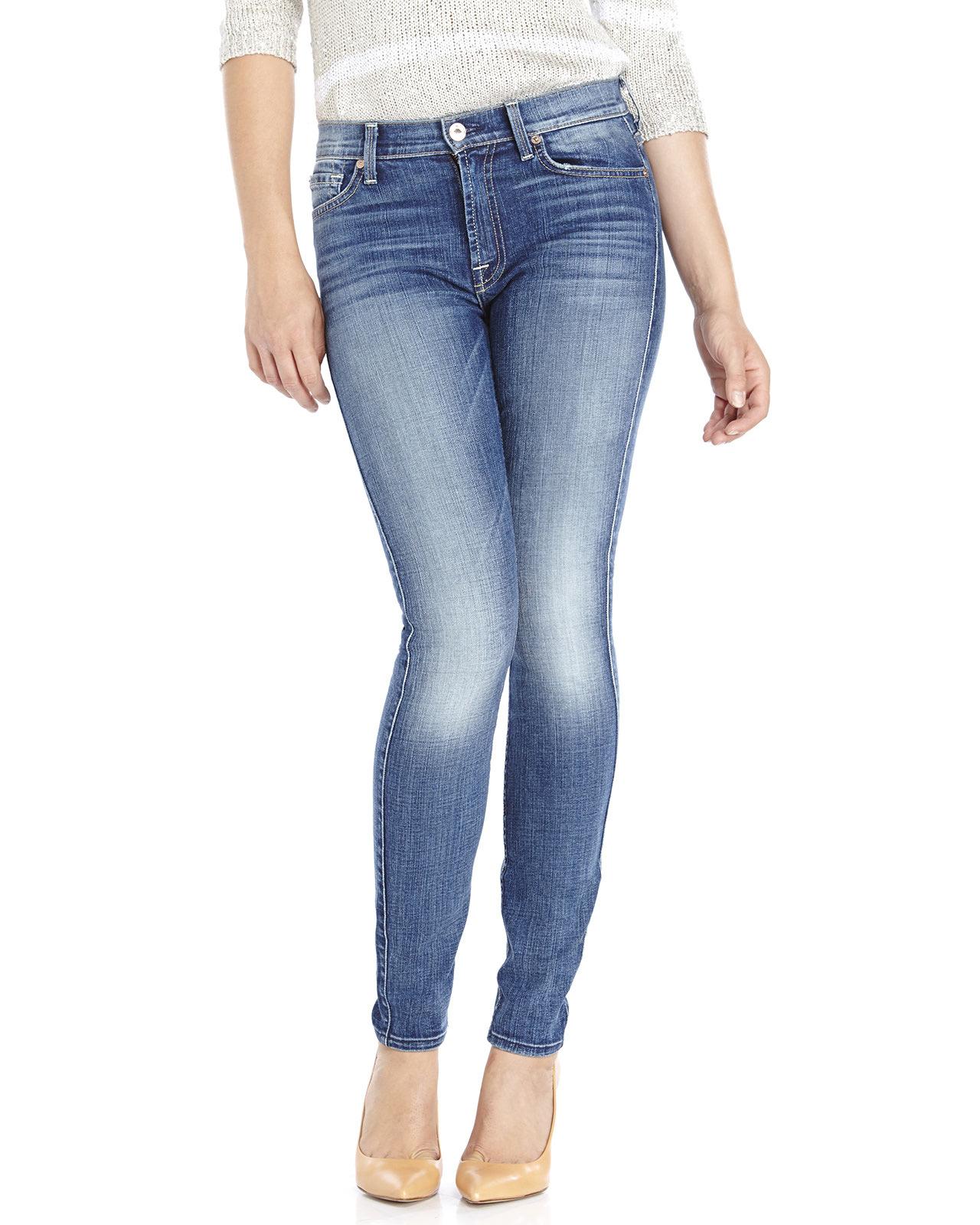 for all mankind blue slim illusion high waist skinny jeans lyst. Black Bedroom Furniture Sets. Home Design Ideas