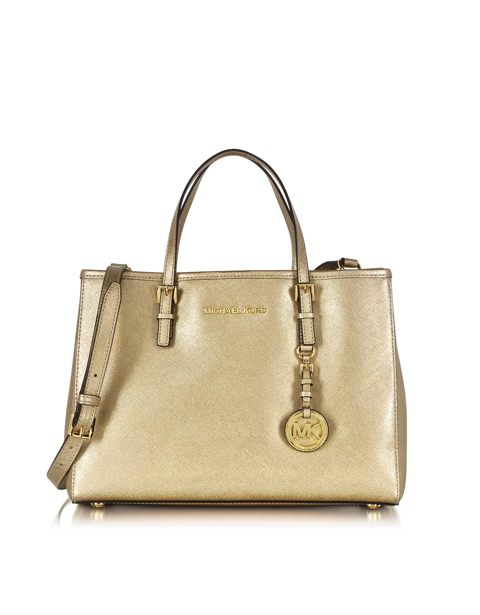 df008fa9ab26 Michael Kors Jet Set Travel Pale Gold Metallic Saffiano Leather ...
