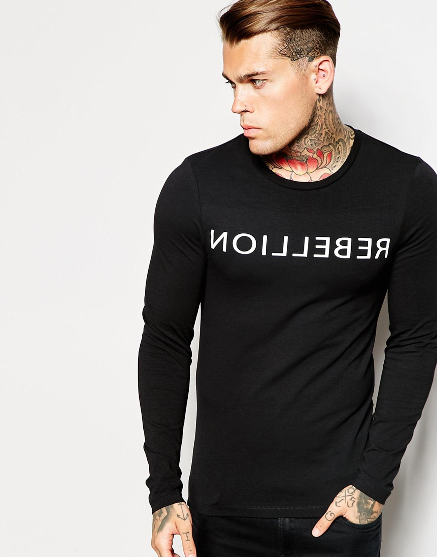 Asos extreme fitted fit long sleeve t shirt with rebellion for Black fitted long sleeve t shirts