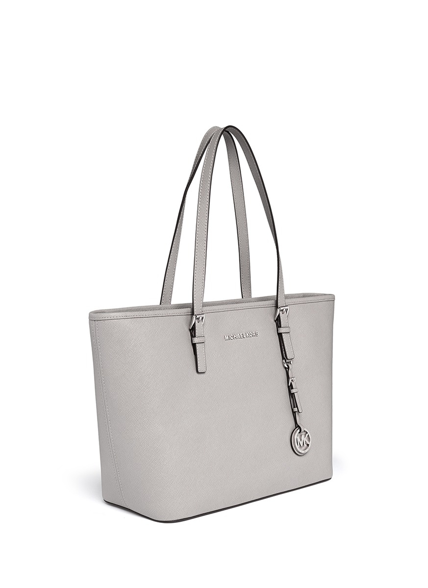 25a1f9895f Michael Kors 'jet Set Travel' Saffiano Leather Top Zip Tote in Gray ...