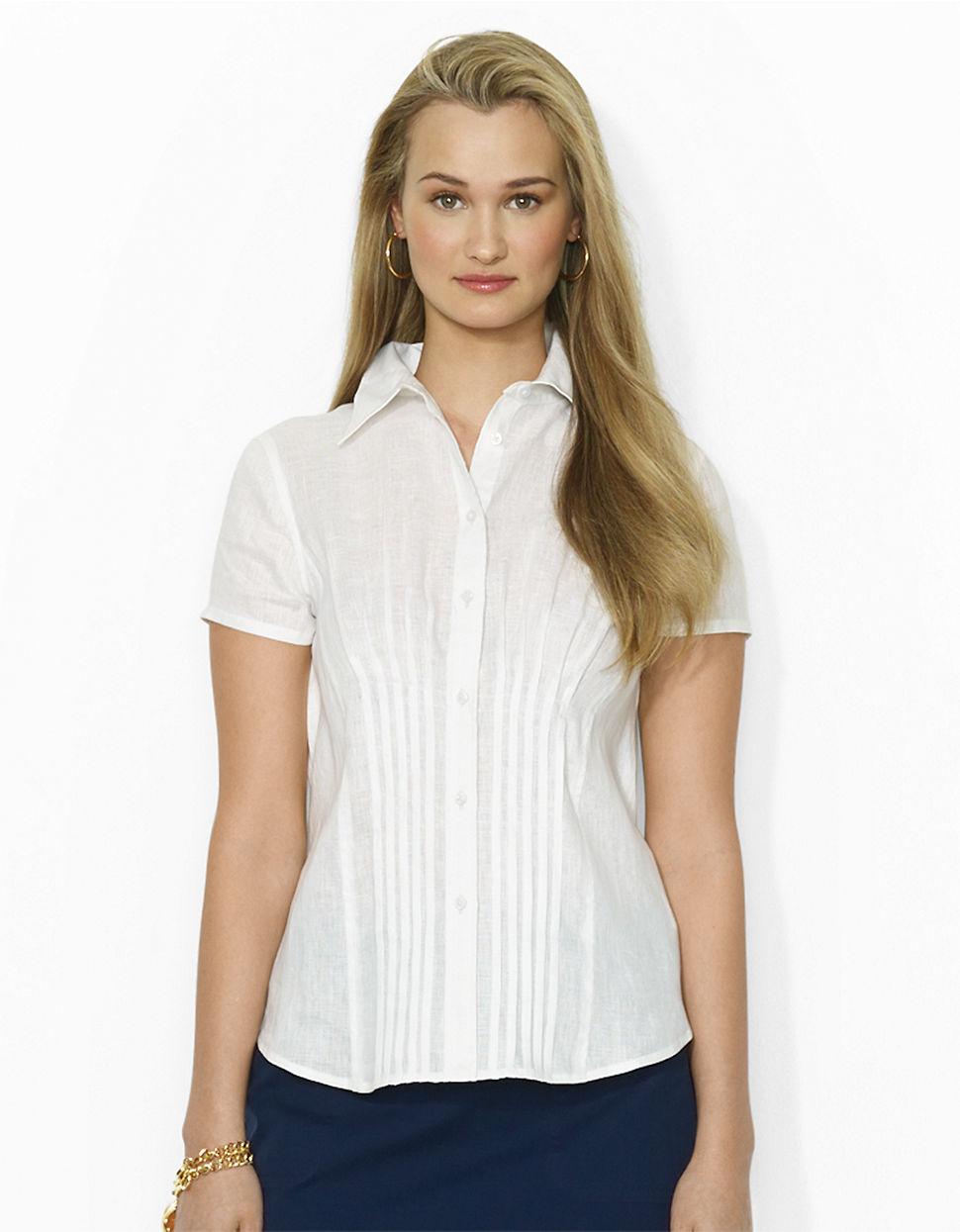 Lauren By Ralph Lauren Pleated Linen Shirt In White Lyst