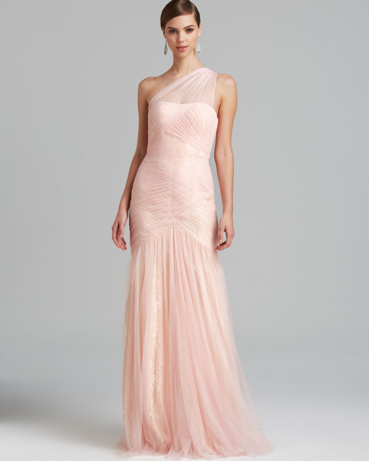 Lyst - Ml Monique Lhuillier Gown One Shoulder Tulle with Sequin ...