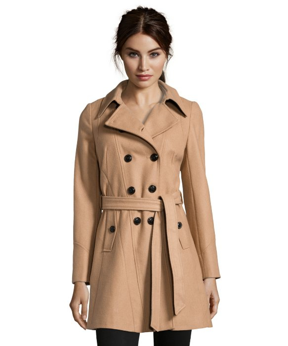 Dkny Camel Wool Blend 'Blake' Belted 3/4 Length Trench Coat in ...