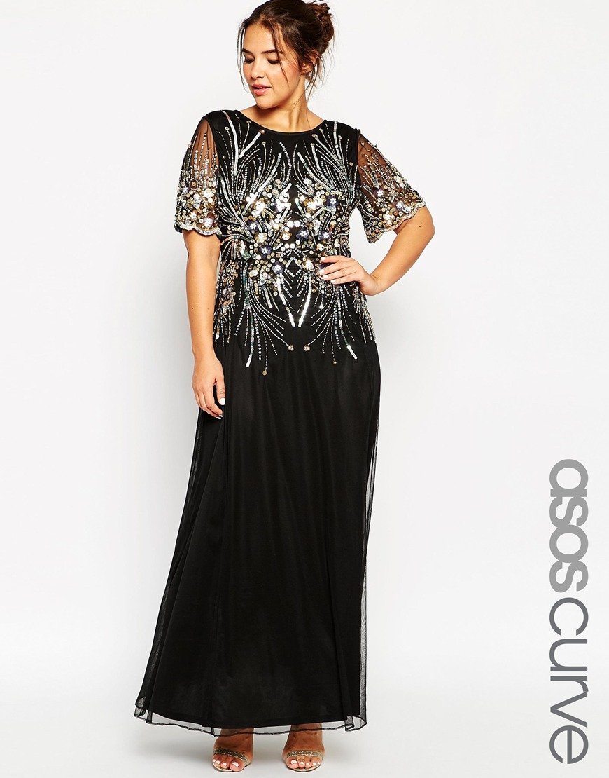 Lyst Asos Red Carpet Gold Amp Black Sparkle Mesh Maxi