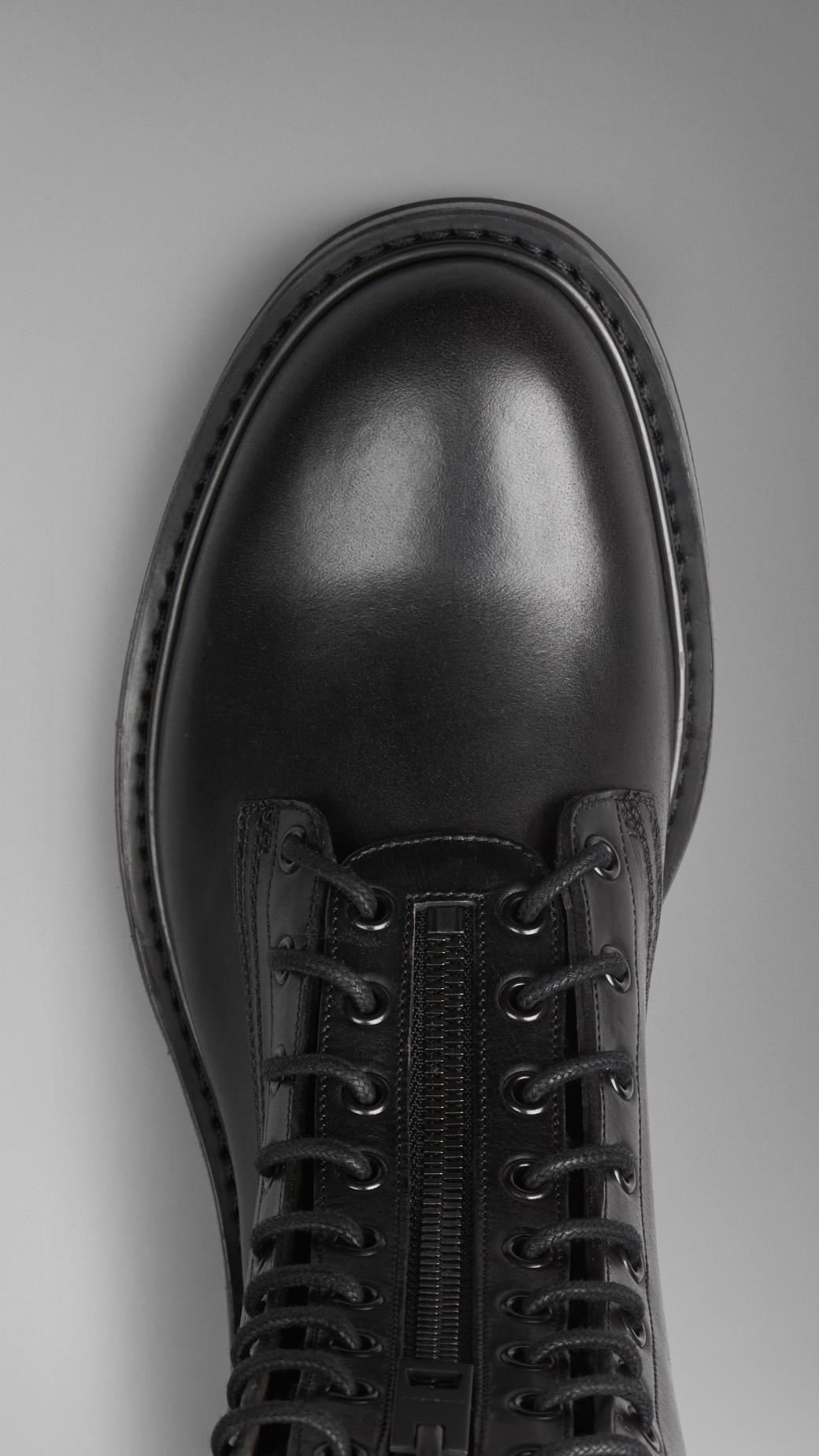Burberry Leather Military Boots In Black For Men Lyst