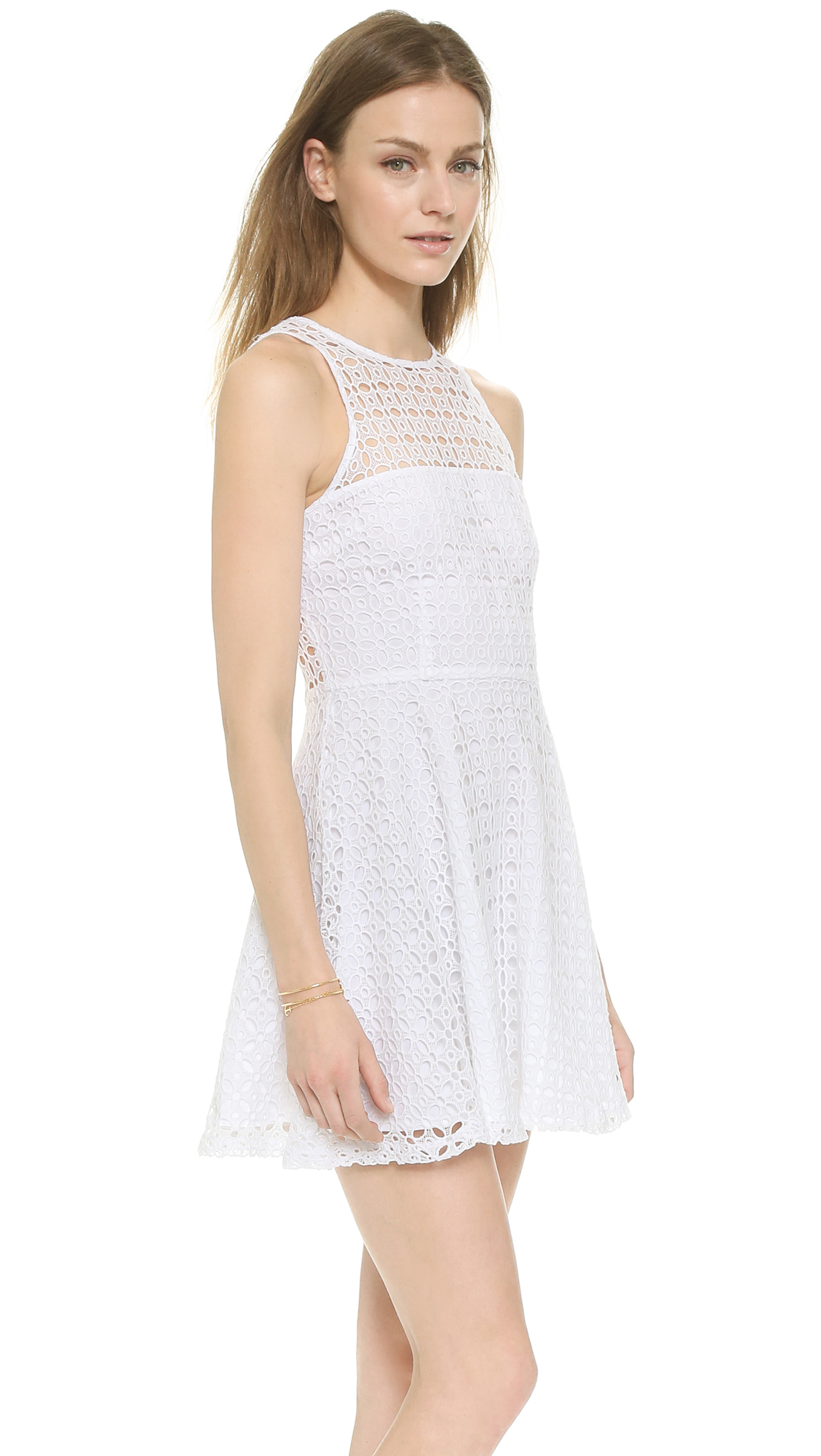 Bb dakota Danica Lace Racer Back Dress - Optic White in White - Lyst