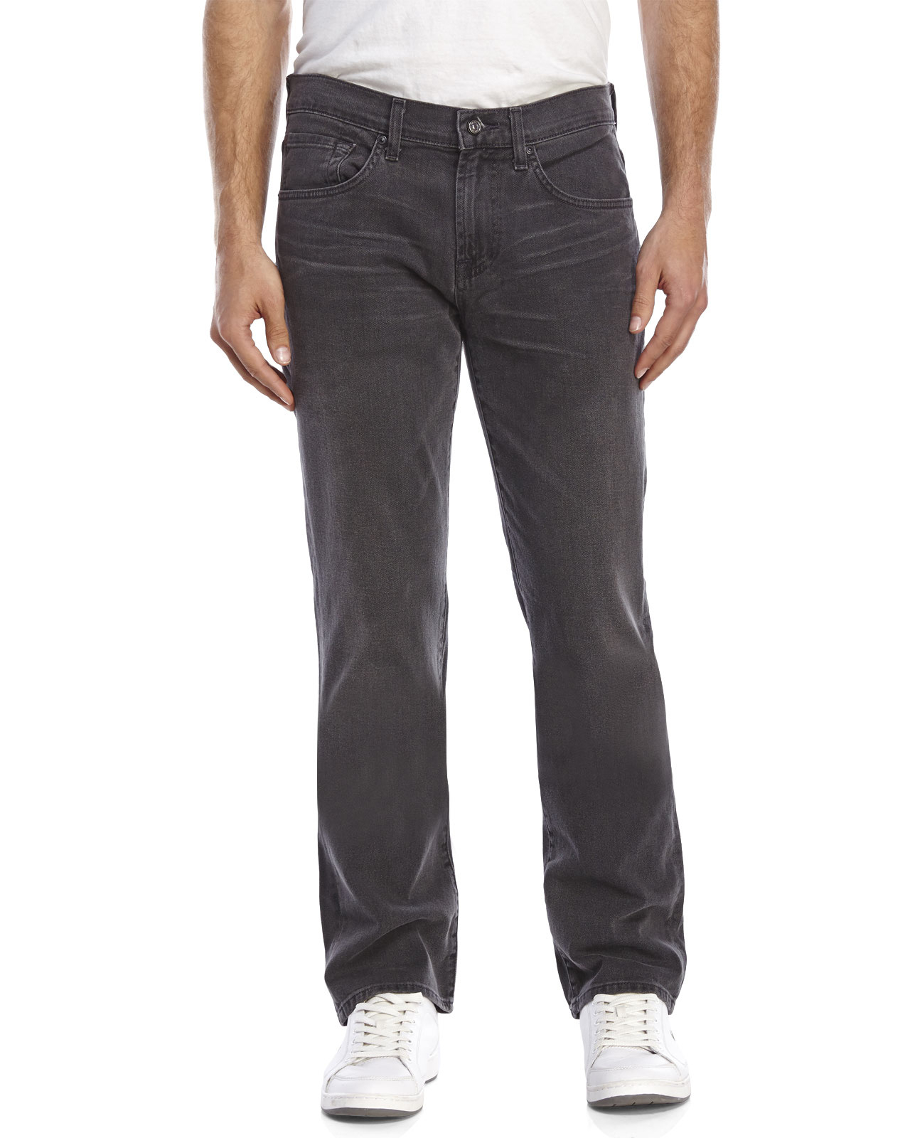 lyst  7 for all mankind dark grey carsen jeans in gray