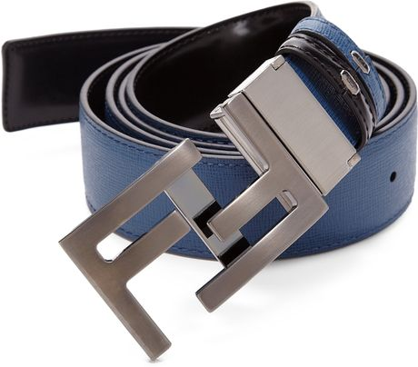 Fendi America Elite Reversible Leather Belt in Blue for ...