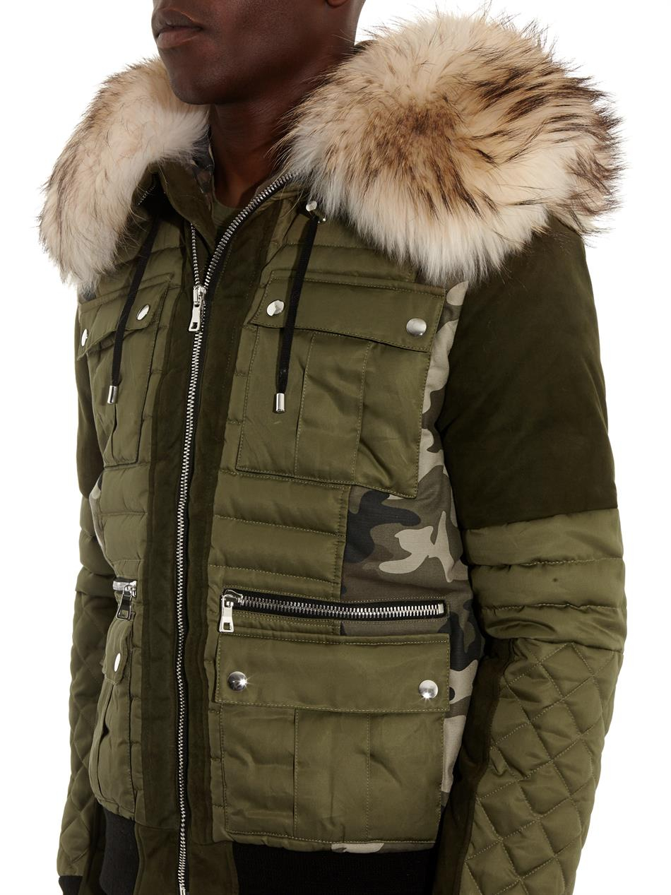 Balmain Fur Trim Camouflage Print Quilted Jacket In Green