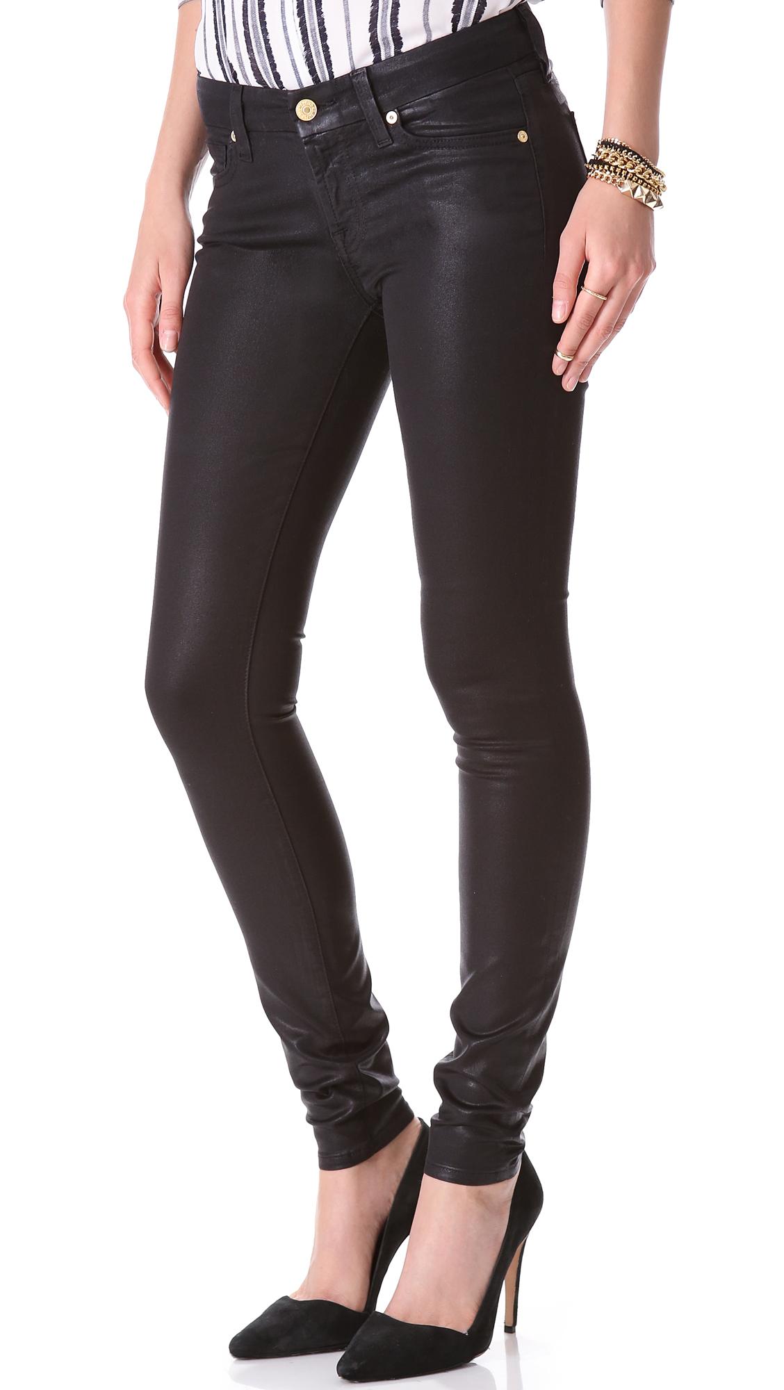 lyst 7 for all mankind high shine skinny jeans high shine black in black. Black Bedroom Furniture Sets. Home Design Ideas