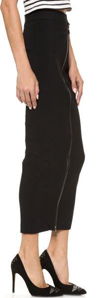 balmain zip pencil maxi skirt black in black lyst