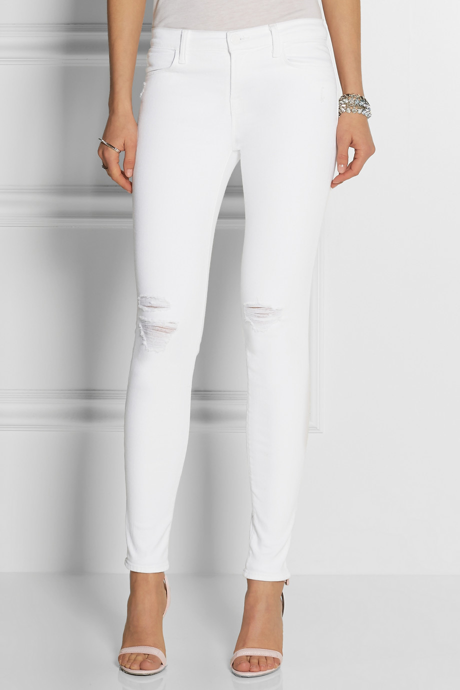 J brand 620 Super Skinny Distressed Mid-Rise Jeans in White | Lyst