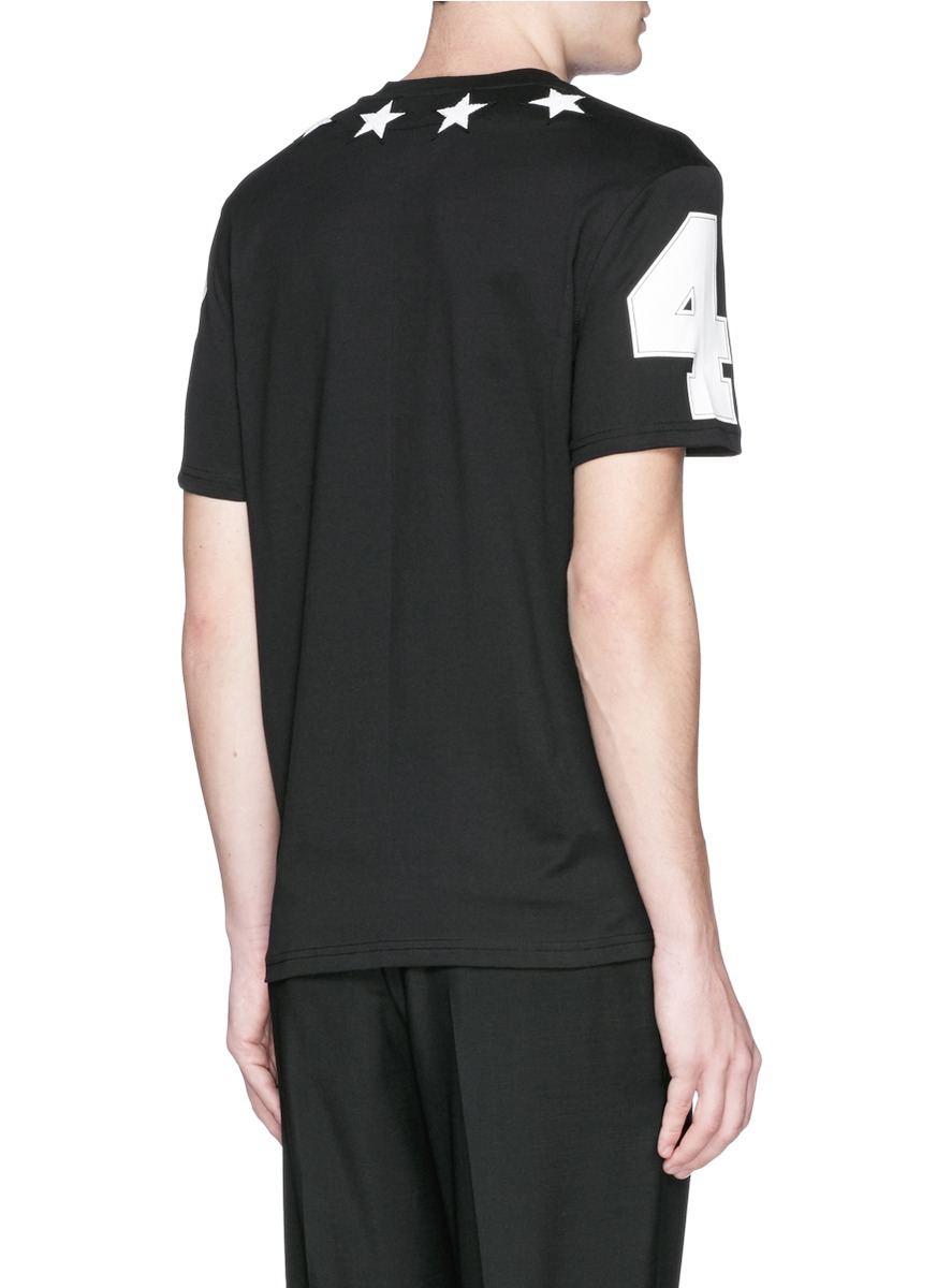 givenchy black star embroidery cotton t shirt for men lyst. Black Bedroom Furniture Sets. Home Design Ideas