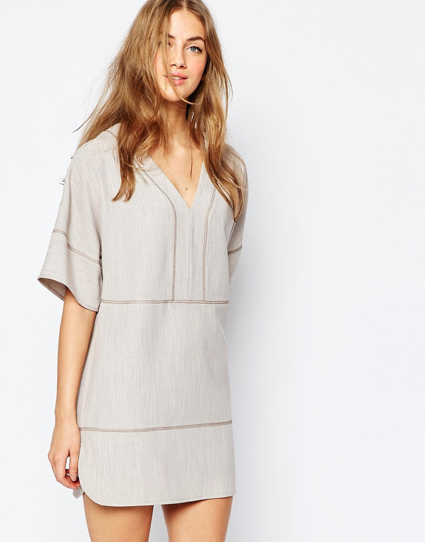 4a6a67a2bb2 Lyst - ASOS Tunic Dress In Linen Look With Stitch Detail in White