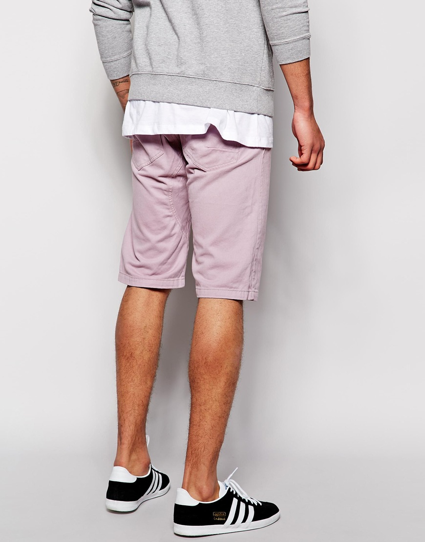 Bellfield Drop Crotch Chino Shorts in Purple for Men | Lyst