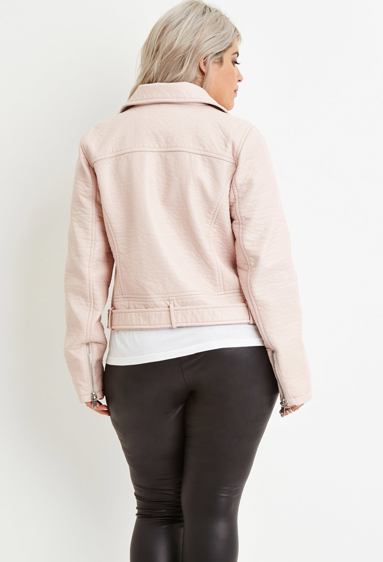 bba1d7c6aa5 Forever 21 Plus Size Faux Leather Moto Jacket in Pink - Lyst