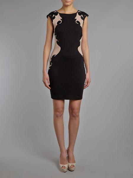 Lipsy Lace Panel Mini Dress In Black Lyst