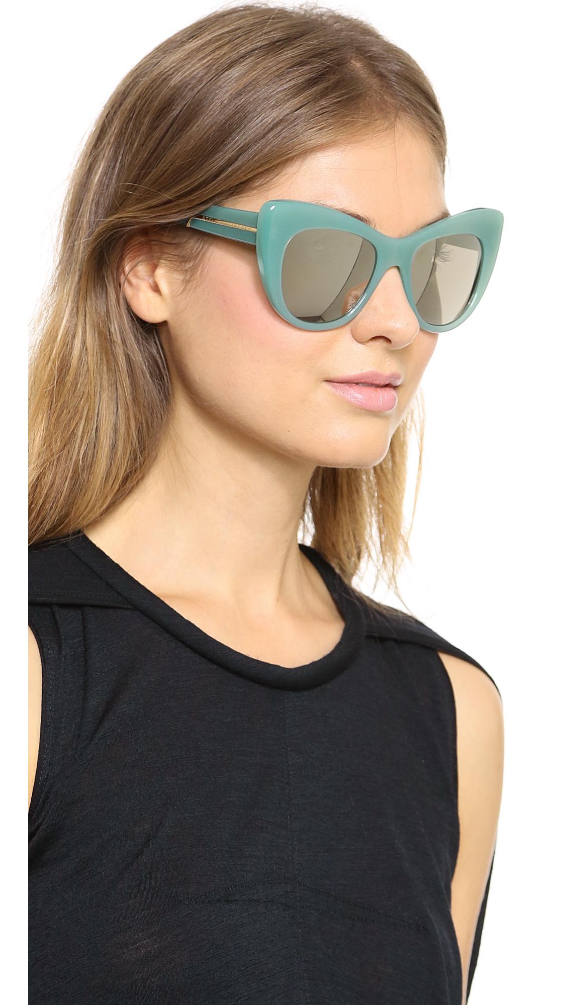 Stella Mccartney Cat Eye Sunglasses Blue Celadon Gold