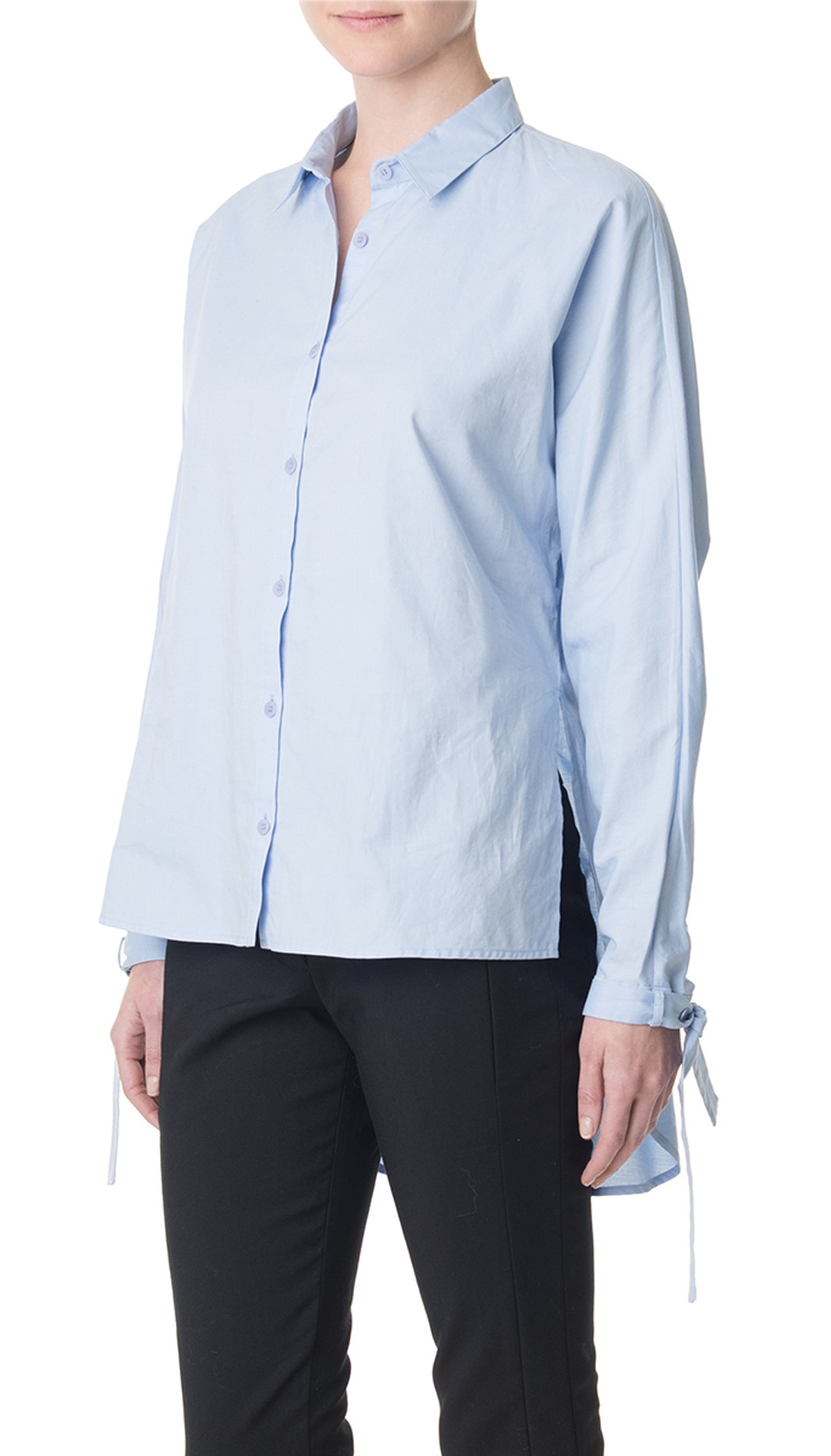 Tibi Oxford Dolman Tie Shirt In Blue Light Blue Lyst