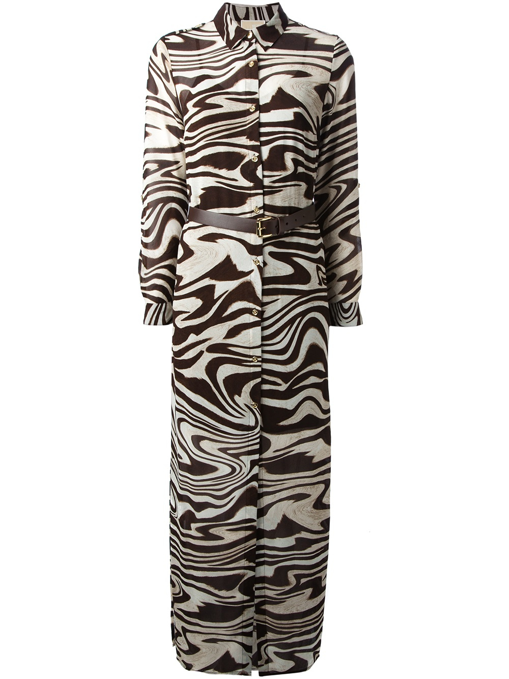 Lyst Michael Michael Kors Zebra Print Shirt Dress In Brown