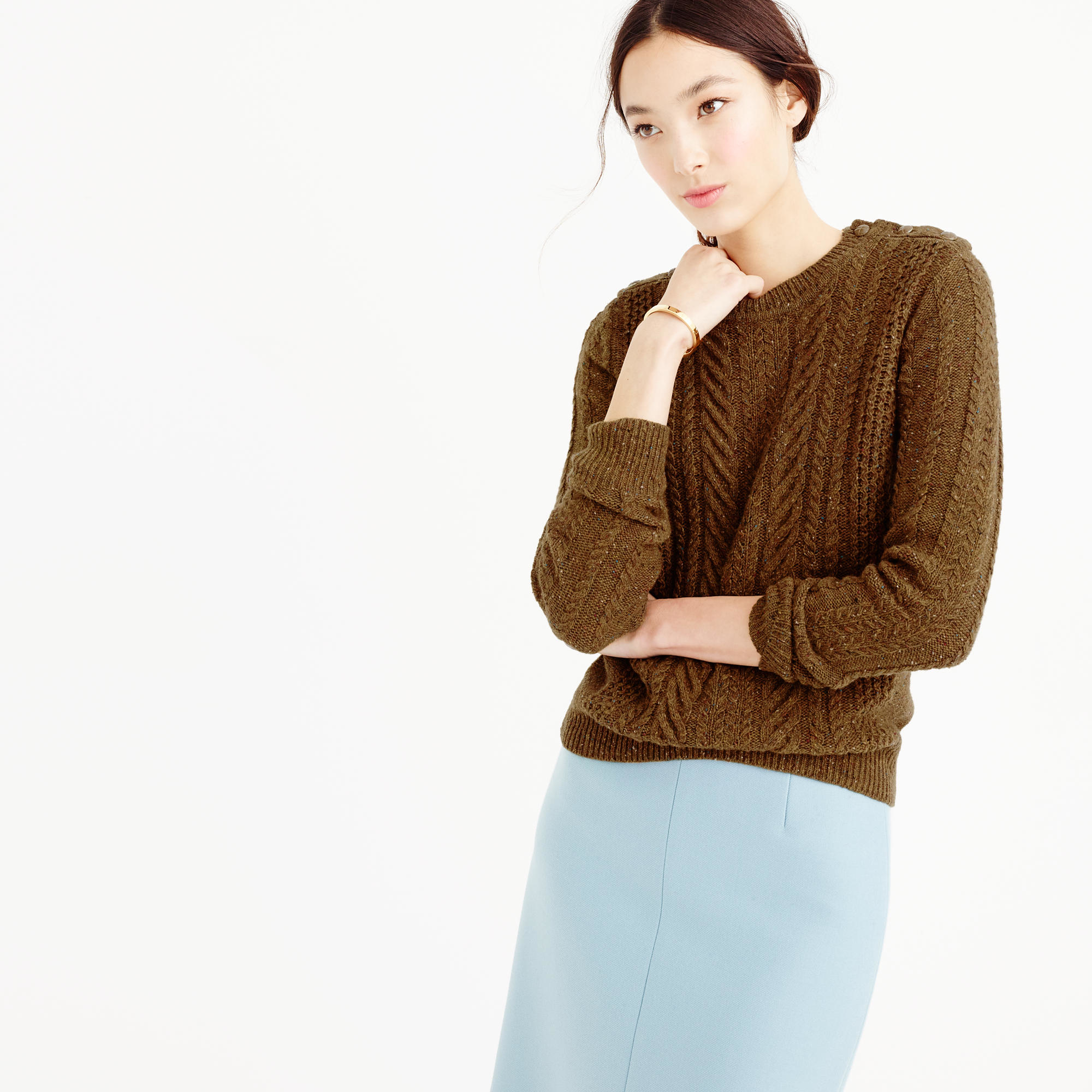 J.crew Perfect Cable Sweater In Speckled Wool in Brown | Lyst