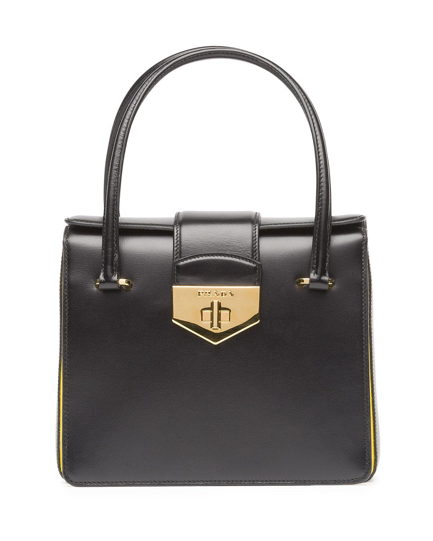 Prada Box Calf Bicolor Satchel Bag in Black | Lyst